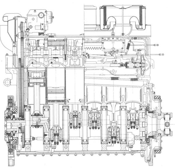 Вид сбоку двигатель Тигра